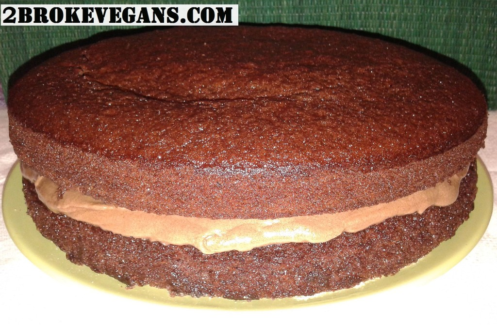 Top view of the vegan gluten free layer cake process