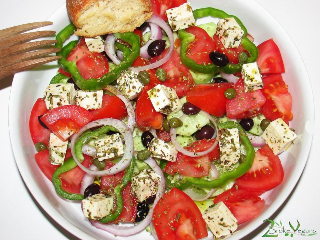 Greek Salad with vegan Feta cheese recipe Xoriatiki