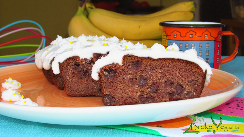 Gluten Free Vegan Chocolate Chip Banana Cake Recipe - Gourmet Eggless Dairy Free Bread Dessert