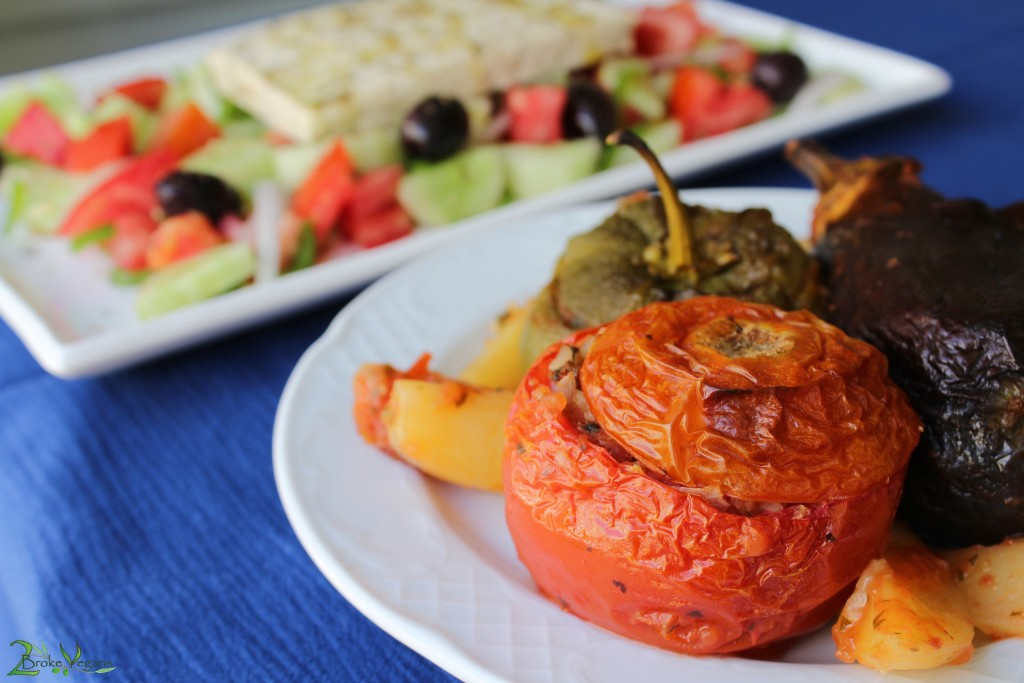 Yemista - Greek Stuffed Vegetables Tomatoes, Peppers, Eggplants, Potatoes