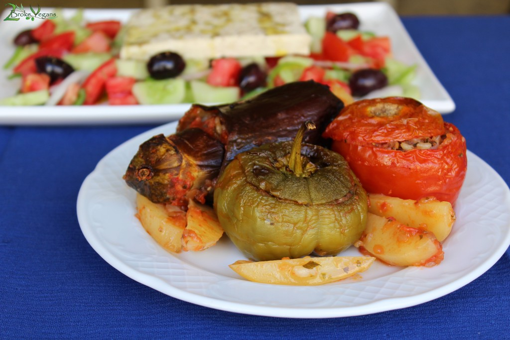 Yemista - Greek Rice Stuffed Vegetables (Peppers, Tomatoes, Eggplants, Zucchini, Potatoes)